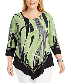 Plus Size Tropical-Print Asymmetrical Hem Top, Created for Macy's