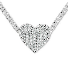 "Cubic Zirconia Pavé Heart 18"" Pendant Necklace in Sterling Silver"