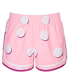 Little Girls Varsity Dot-Print Shorts