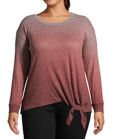 Plus Size Rib-Knit Tie-Front Top