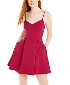 Juniors' Pleated-Skirt Fit & Flare Dress