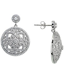 Cubic Zirconia Floral Openwork Disc Drop Earrings in Sterling Silver