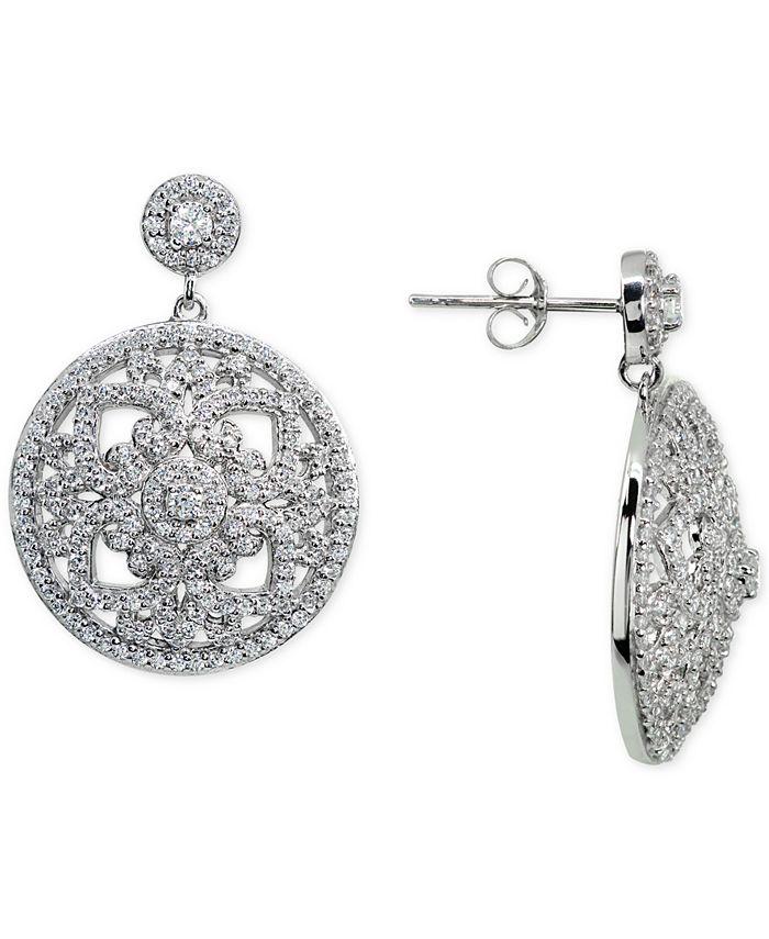 Macy's - Cubic Zirconia Floral Openwork Disc Drop Earrings in Sterling Silver