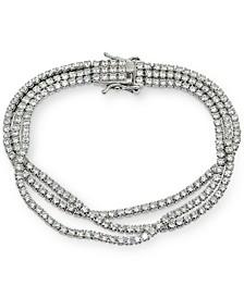 Cubic Zirconia Multi-Row Statement Bracelet in Sterling Silver