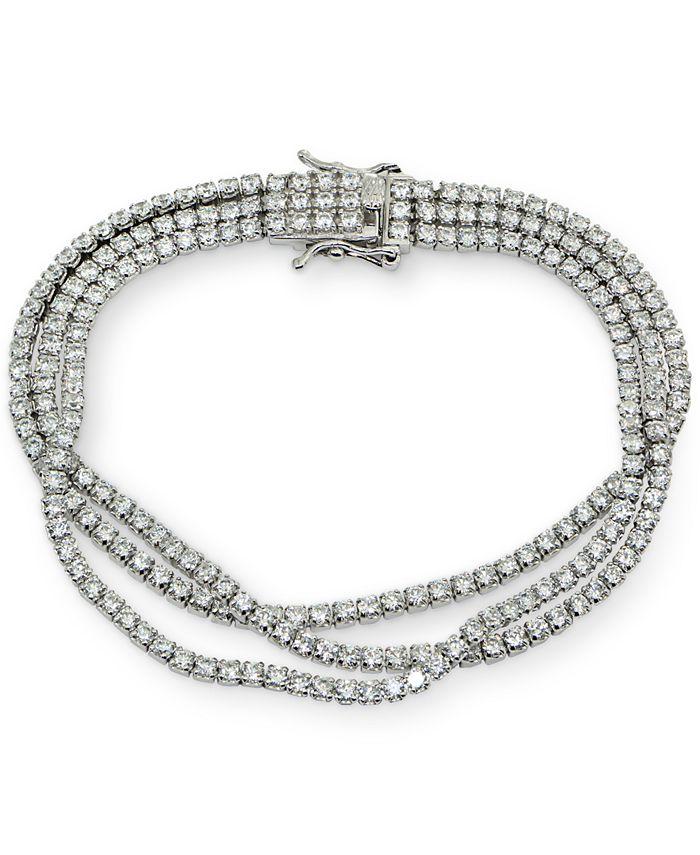 Macy's - Cubic Zirconia Multi-Row Statement Bracelet in Sterling Silver