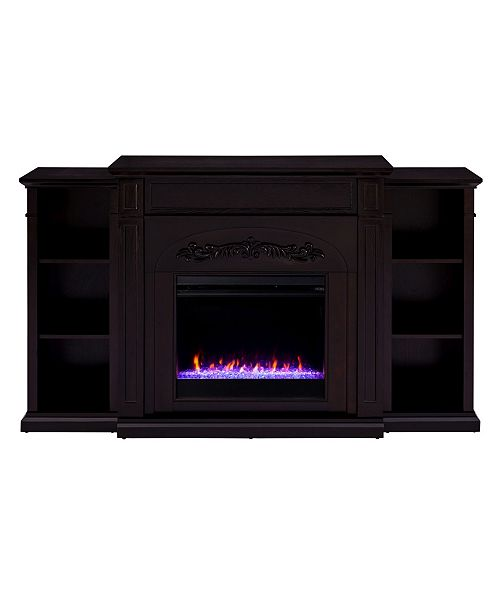 Southern Enterprises Cardewell Color Changing Fireplace with Bookcases