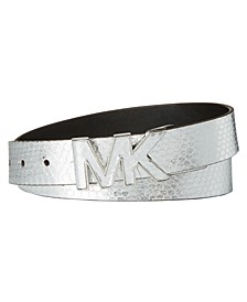 Metallic Snake Logo-Buckle Belt