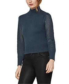 Mesh-Sleeve Turtleneck Sweater