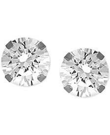 """Cubic Zirconia 1/4"""" Stud Fine Silver Plate Earrings"""