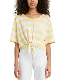 Fiona Cotton Striped Tie-Front T-Shirt