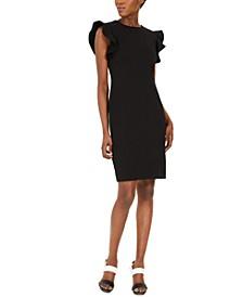 Stitched-Ruffle Sheath Dress