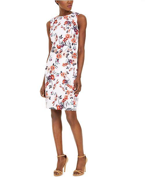 Calvin Klein Petite Floral-Print Sheath Dress