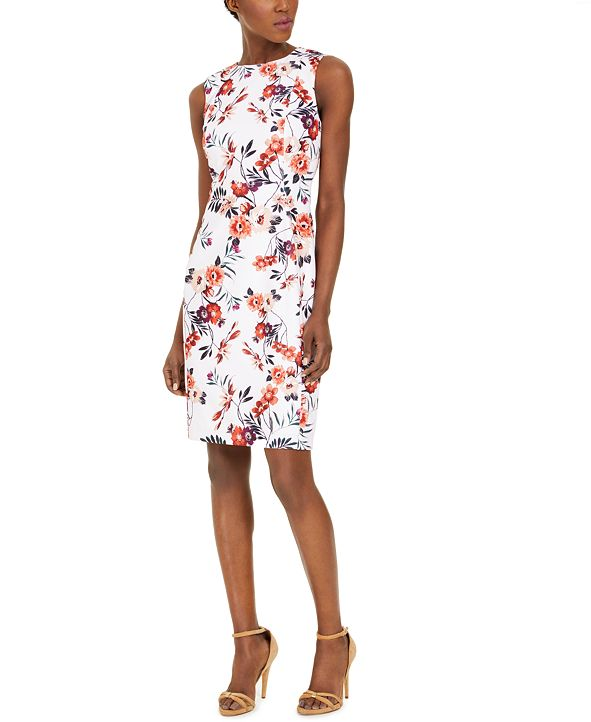 Calvin Klein Floral-Print Scuba Sheath Dress