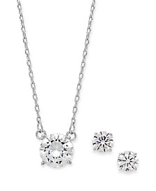 2-Pc. Set Cubic Zirconia Solitaire Pendant Necklace & Matching Stud Earrings, Created for Macy's