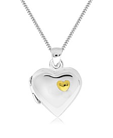 Children's 2-Tone Heart Locket in Sterling Silver and 14K Yellow Gold over Sterling Silver