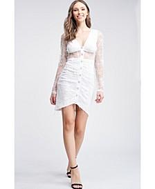 Lace Long Sleeve Shirring V Neck Raw Edge Knit Mini Dress