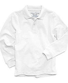 Nautica Long-Sleeve Uniform Polo, Big Boys Husky