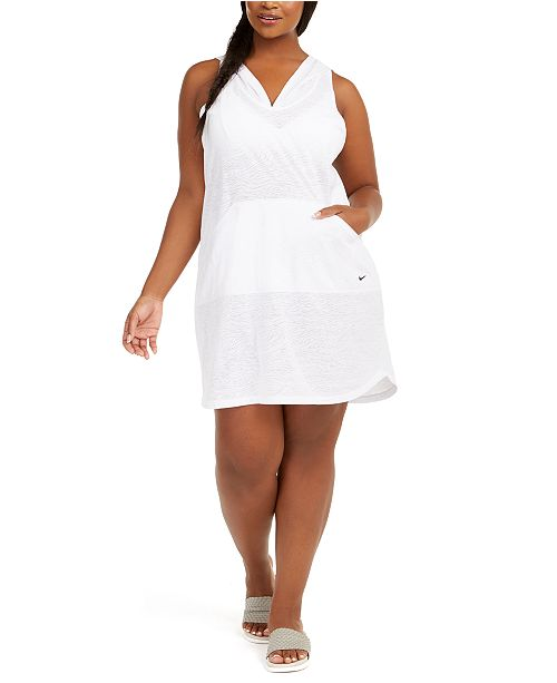 Nike Plus Size Printed Hooded Swim Cover-Up Dress
