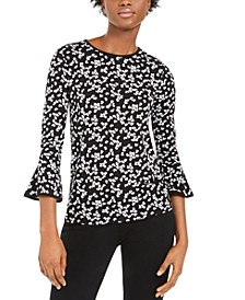 Printed Flare-Sleeve Top