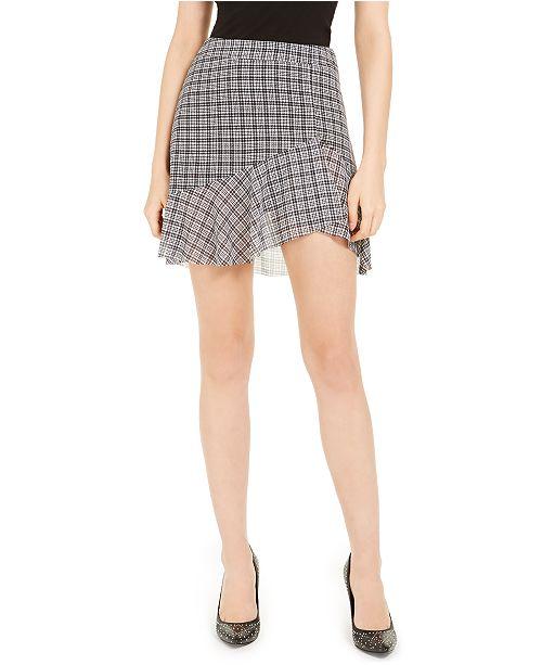 Michael Kors Check-Print Ruffled Skirt, Regular & Petite