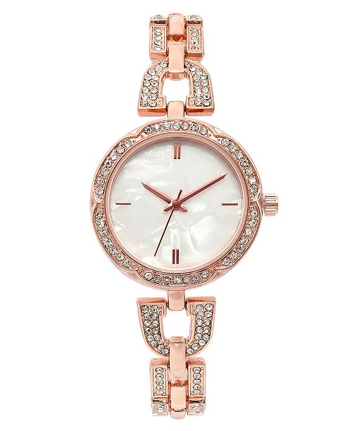 Charter Club Women's Rose Gold-Tone Crystal Bracelet Watch 32mm, Created for Macy's