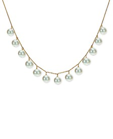 "Cultured Freshwater Pearl (8-9mm) 18"" Statement Necklace in 18k Gold-Plated Sterling Silver"