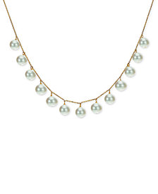 """Cultured Freshwater Pearl (8-9mm) 18"""" Statement Necklace in 18k Gold-Plated Sterling Silver"""