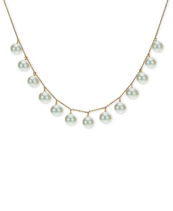 "Macy's Cultured Freshwater Pearl (8-9mm) 18"" Statement Necklace in 18k Gold-Plated Sterling Silver"
