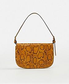 Snake-Effect Baguette Bag