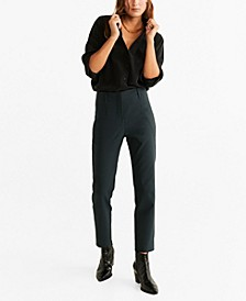 Pleated Straight Leg Trouser