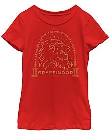 Harry Potter Big Girl's The Deathly Hallows Gryffindor Line Art Short Sleeve T-Shirt