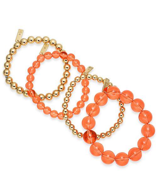 INC International Concepts INC Gold-Tone 4-Pc. Set Beaded Stretch Bracelets, Created For Macy's