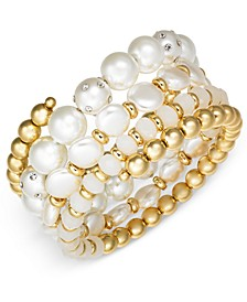 INC Gold-Tone Pavé & Imitation Pearl Coil Bracelet, Created For Macy's