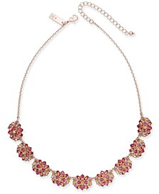 "INC Rose Gold-Tone Multi-Stone Cluster Statement Ring, 18"" + 3"" extender, Created for Macy's"