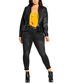 Trendy Plus Size Outlined Faux-Leather Jacket