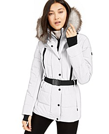 Active Belted Faux-Fur-Trim Puffer Coat