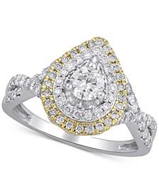Diamond Teardrop Double Halo Ring (1 ct. t.w.) in 14k Gold & White Gold