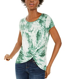 INC Petite Tie-Dye Twist-Front Top, Created for Macy's