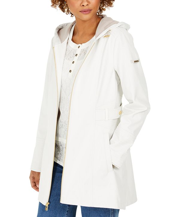 Via Spiga Hooded Water-Resistant Raincoat
