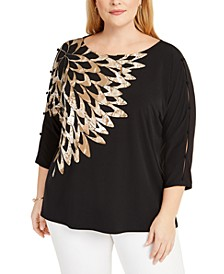 Plus Size Button-Trim Split-Sleeve Top, Created For Macy's