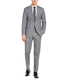 Men's X-Fit Slim-Fit Infinite Stretch Light Gray Blue Plaid Suit Separates