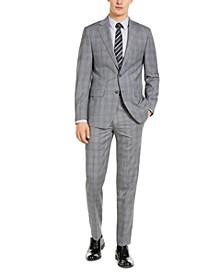 Men's X-Fit Slim-Fit Infinite Stretch Light Gray Blue Plaid Wool Suit Separates
