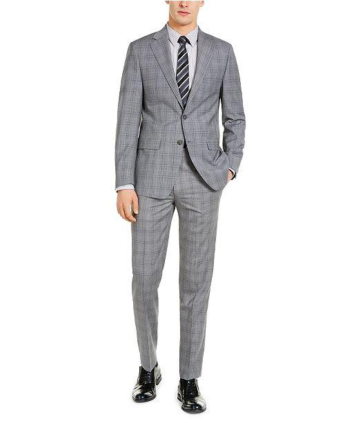 Calvin Klein Men's X-Fit Slim-Fit Infinite Stretch Light Gray Blue Plaid Suit Separates