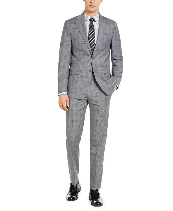 Calvin Klein Men's X-Fit Slim-Fit Infinite Stretch Light Gray Blue Plaid Suit Separates