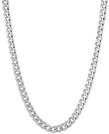"""Flat Curb Link 22"""" Chain Necklace in Sterling Silver"""