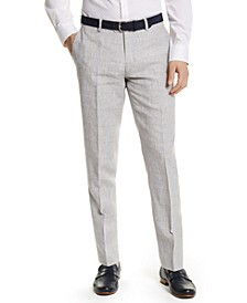 Men's Slim-Fit Gray Plaid Linen Suit Separate Pants, Created for Macy's