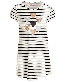 Toddler Girls Striped Hearts T-Shirt Dress, Created For Macy's