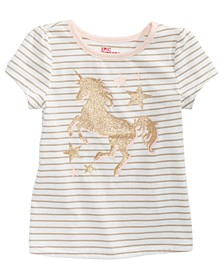 Little Girls Striped Unicorn-Print T-Shirt, Created For Macy's