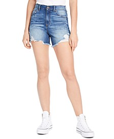 Juniors' Super-High-Rise Distressed Denim Shorts