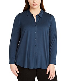 Plus Size Button-Front Top